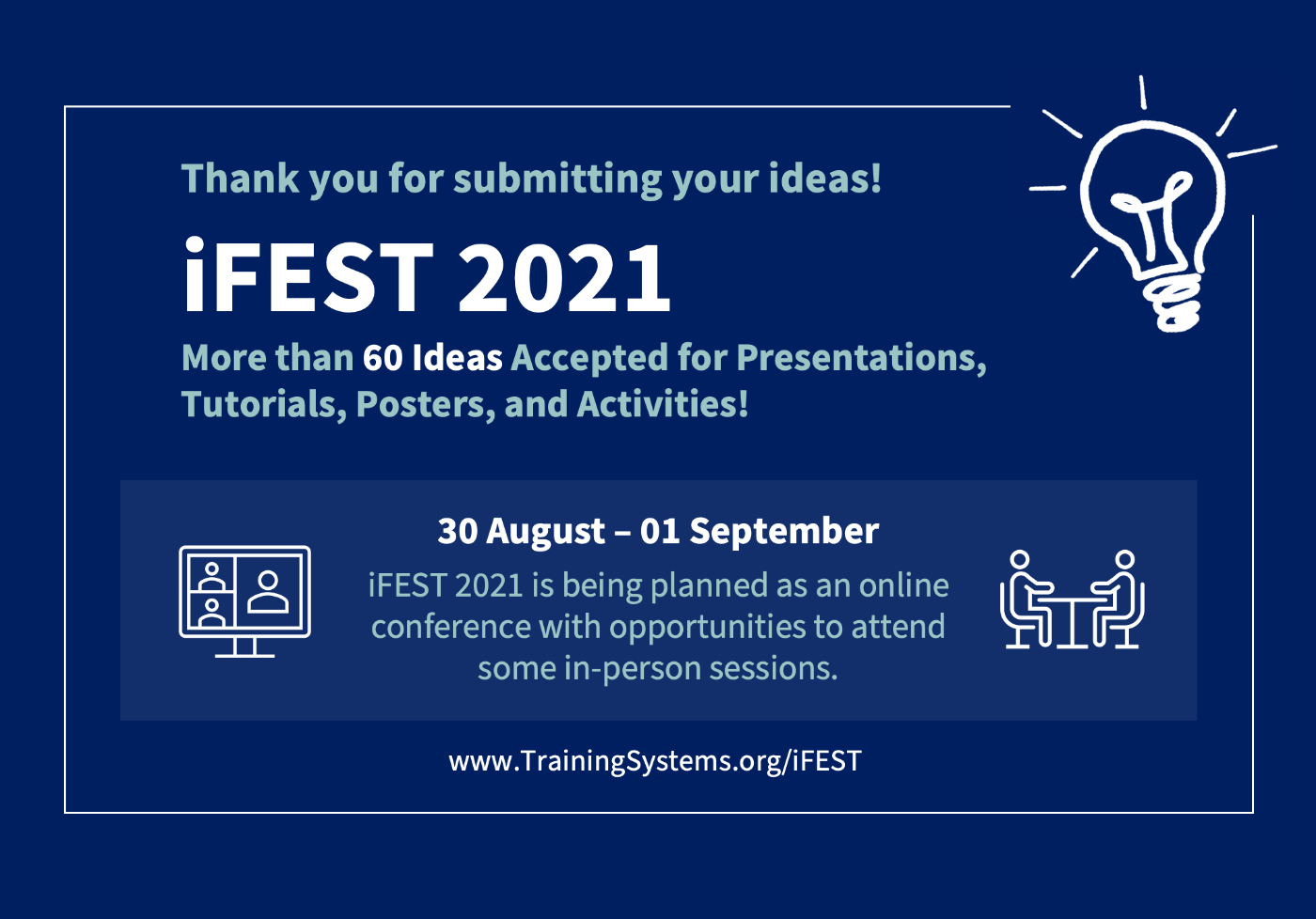 Artwork promoting iFEST 2021 sixty ideas accepted