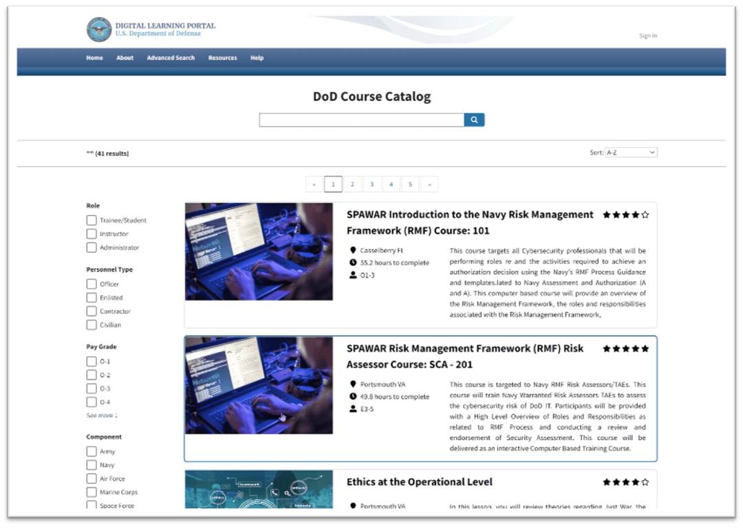 Example of a list of courses from search results as displayed in the Enterprise Course Catalog prototype